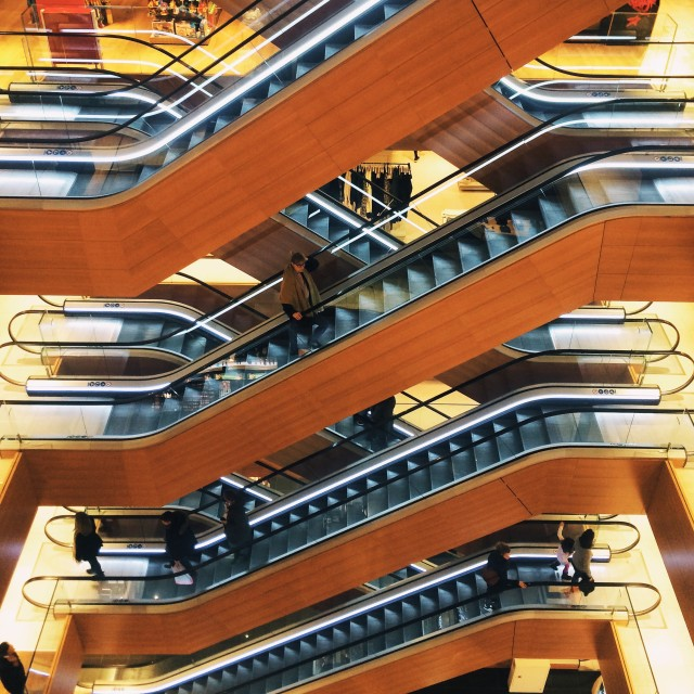 """Illum escalators, Copenhagen"" stock image"