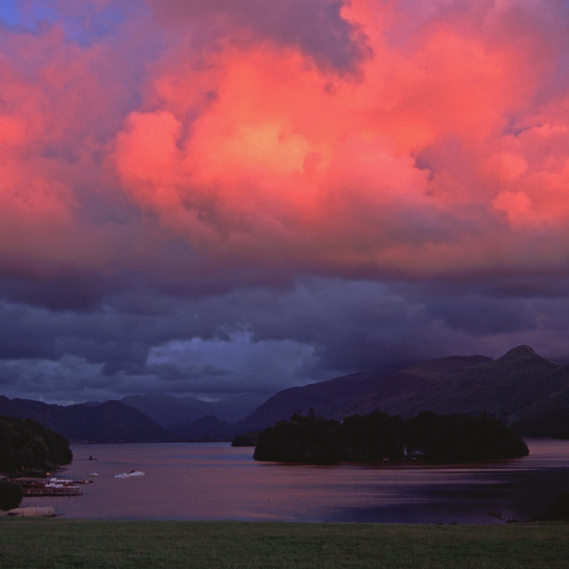 """Pink skies over Derwentwater"" stock image"