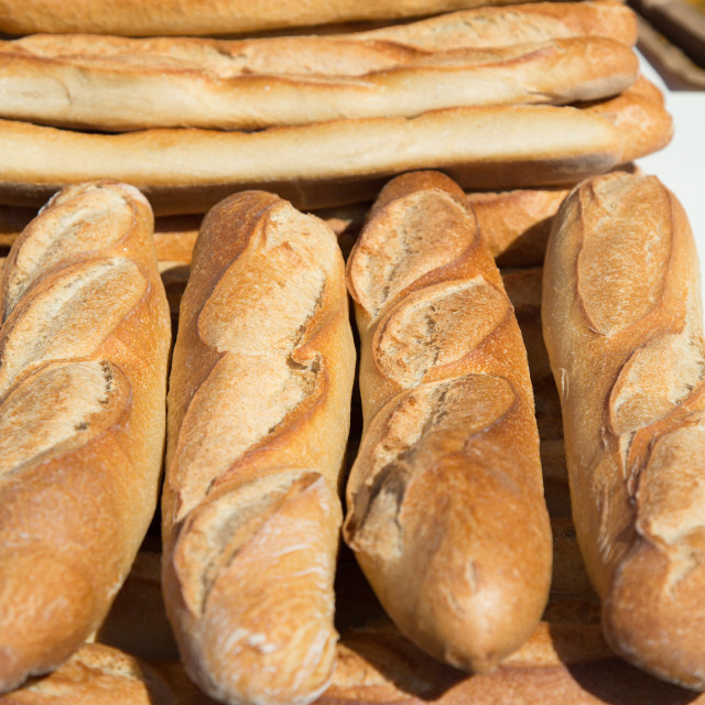 """A pile of Baguettes, French market"" stock image"