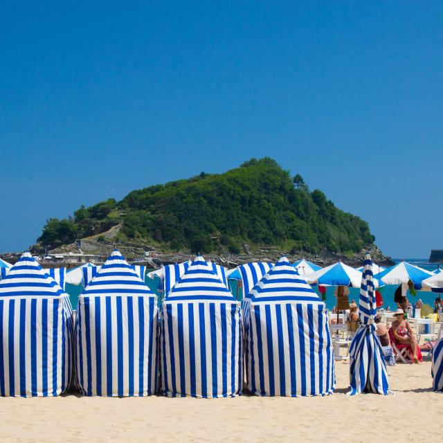 """Beach tents on the beach at Donostia San Sebastien"" stock image"