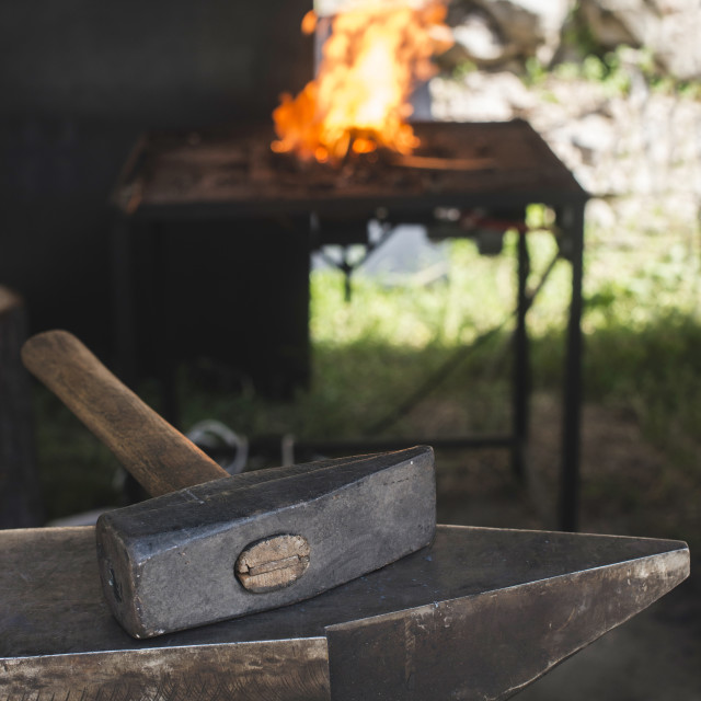 """""""Vise and anvil in a forge shop"""" stock image"""