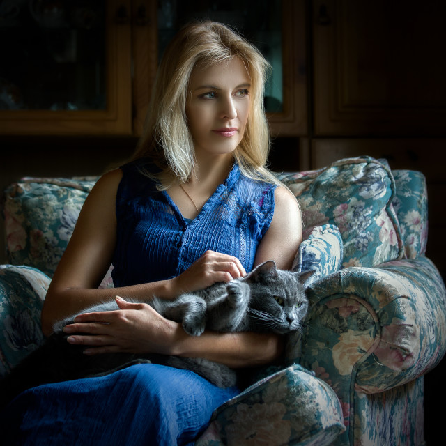 """Woman and cat"" stock image"