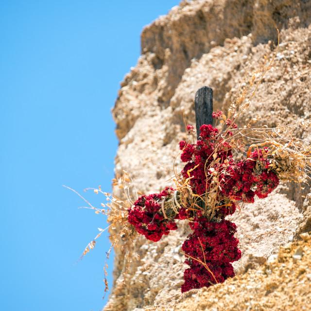 """""""Flower Covered Cross"""" stock image"""