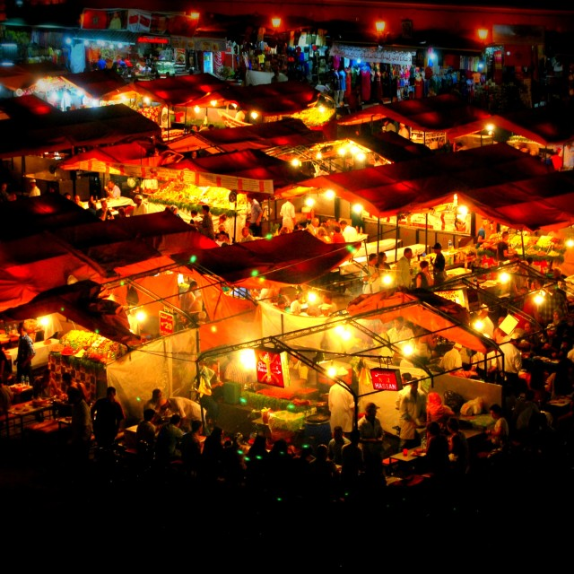"""Jemaa el Fna food stalls"" stock image"