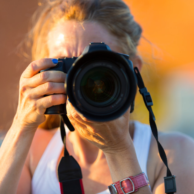 """""""Woman with camera"""" stock image"""