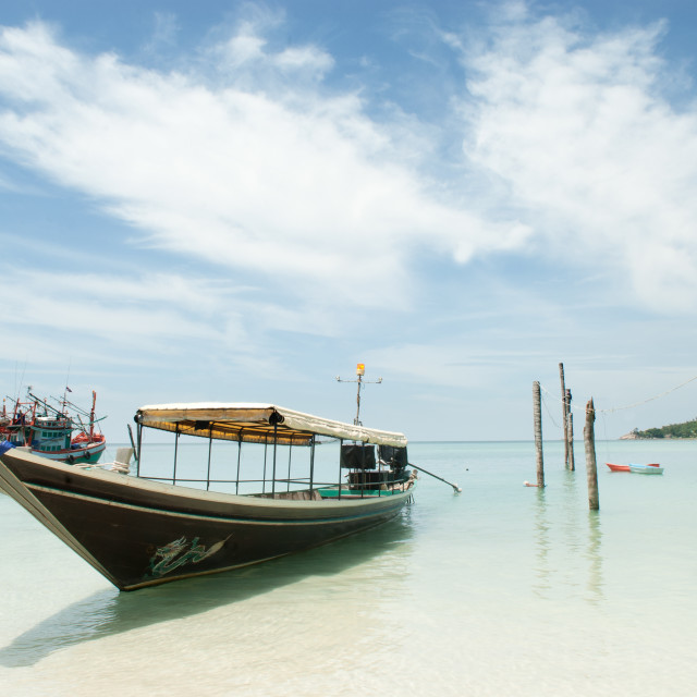 """Boat Koh phangan Beach"" stock image"