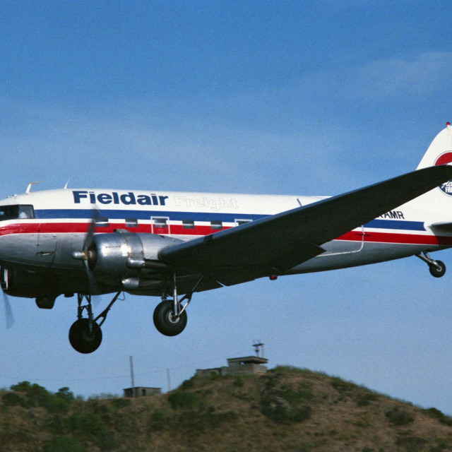 """""""New Zealand DC3 on finals"""" stock image"""