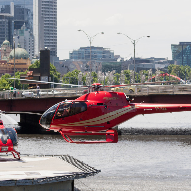 """Helicopters at Melbourne city heliport"" stock image"