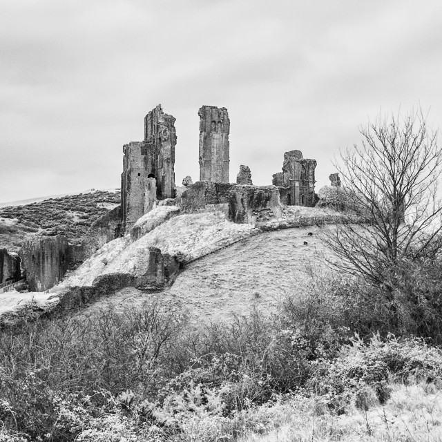 """Corfe Castle - Infra-red Monochrome"" stock image"