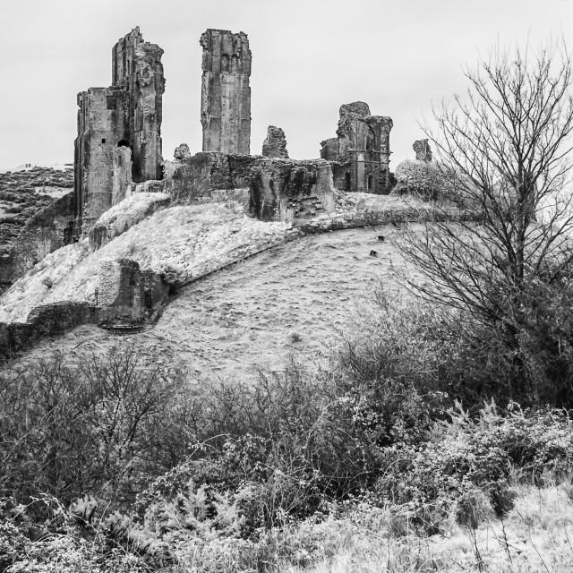 """Corfe Castle - Infra-red Monochrome"" stock image"
