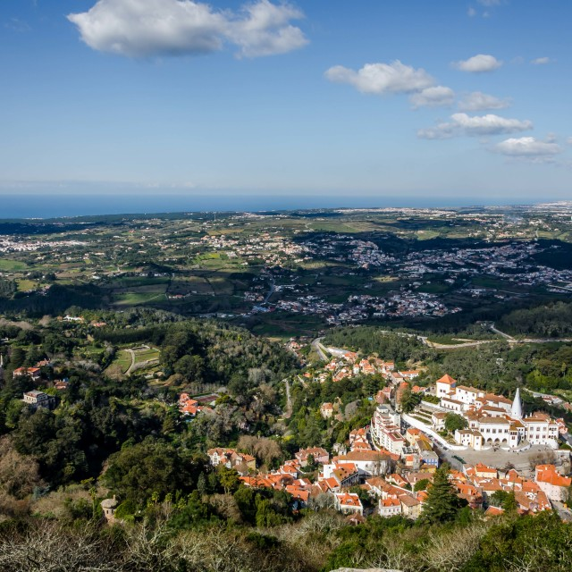 """Aerial view of the area around Sintra"" stock image"