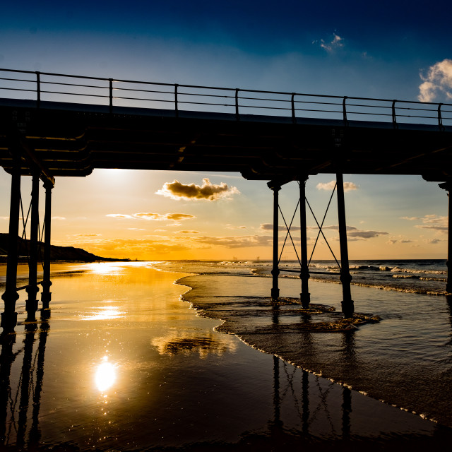 """Saltburn Pier at sunset 3"" stock image"