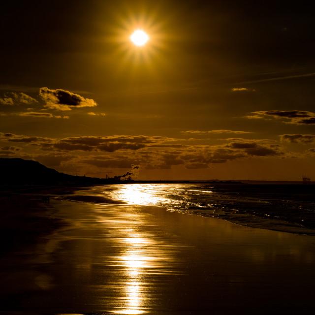 """Saltburn Beach at sunset 3 upright"" stock image"