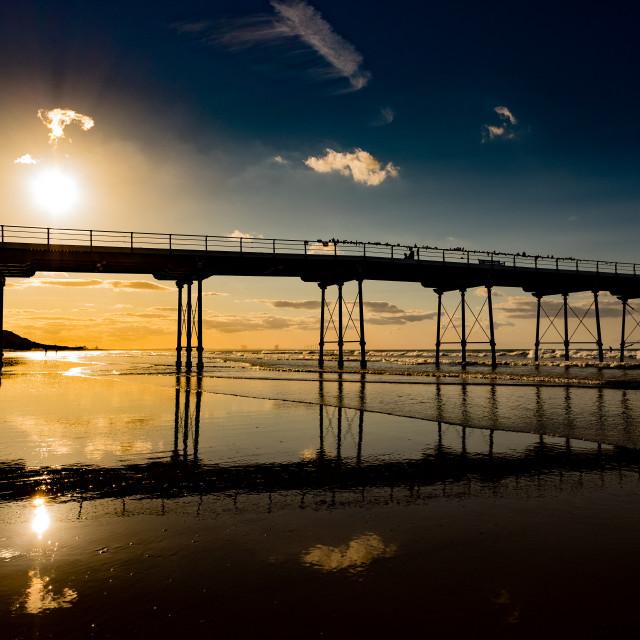 """Saltburn Pier at sunset 1"" stock image"