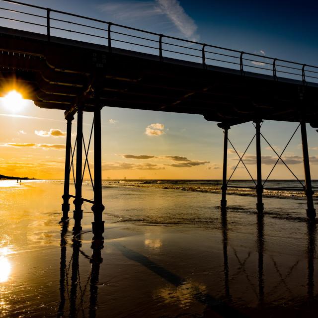 """Saltburn Pier at sunset 2"" stock image"