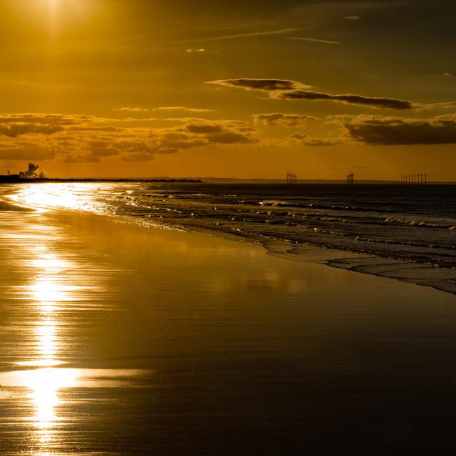 """Saltburn Beach at sunset 2"" stock image"