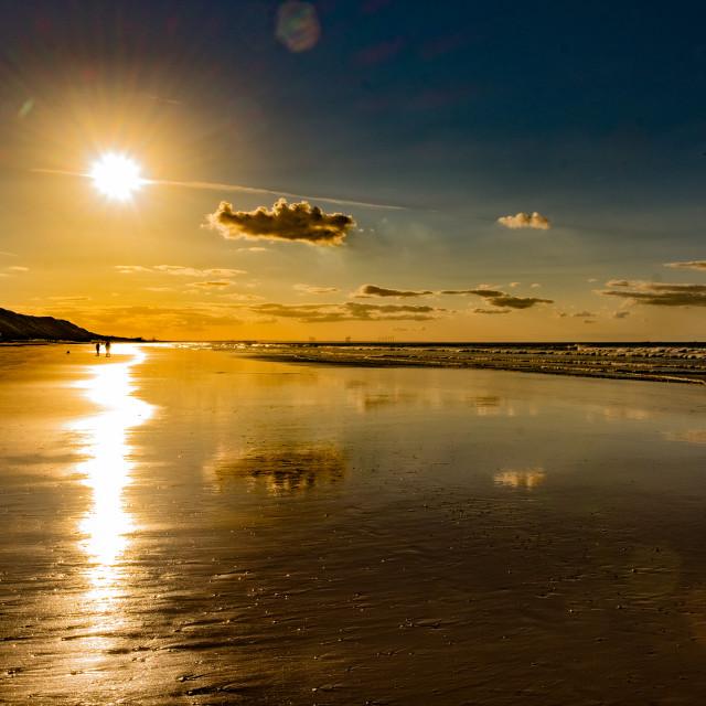 """Saltburn Beach at sunset 1"" stock image"