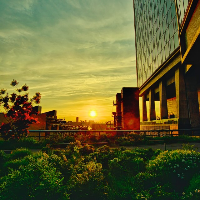 """""""Sunset off the High Line"""" stock image"""