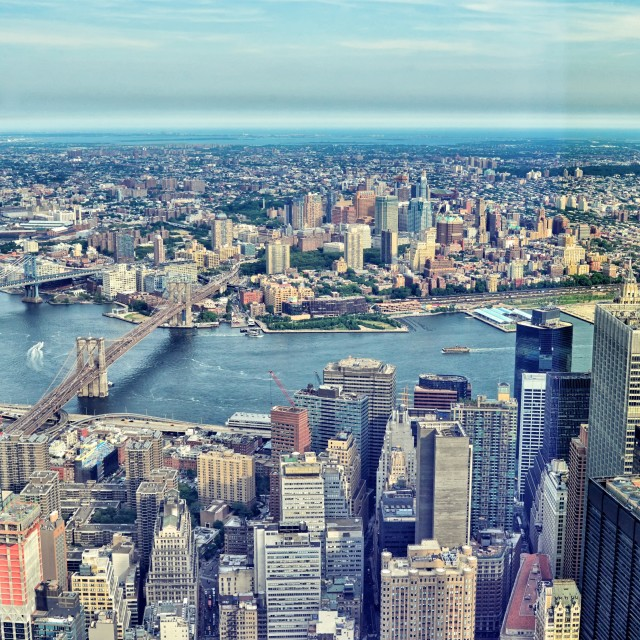 """View from Freedom tower to Brooklyn"" stock image"