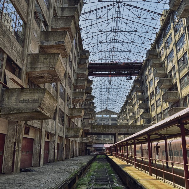 """interior of Brooklyn Army Terminal 5"" stock image"