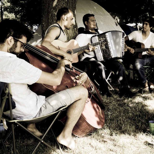 """Gypsy jazz musicians"" stock image"