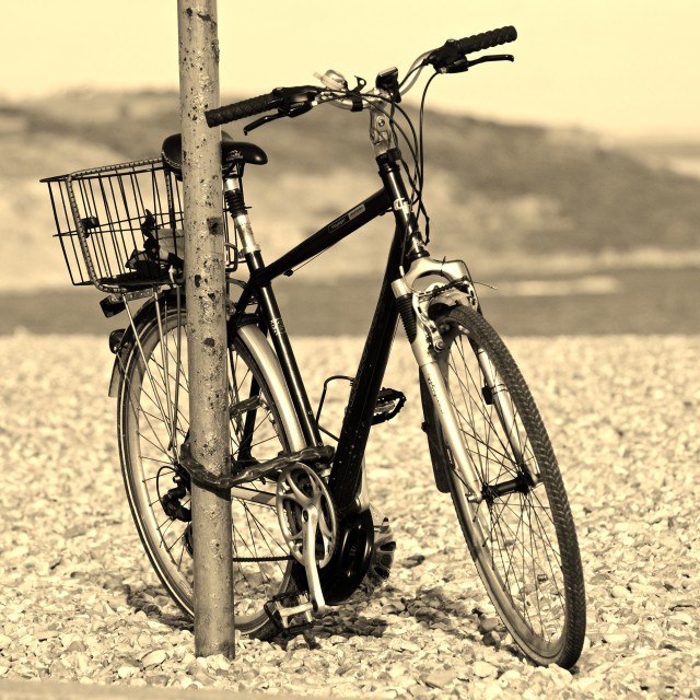 """""""Old Bike on the Beach"""" stock image"""