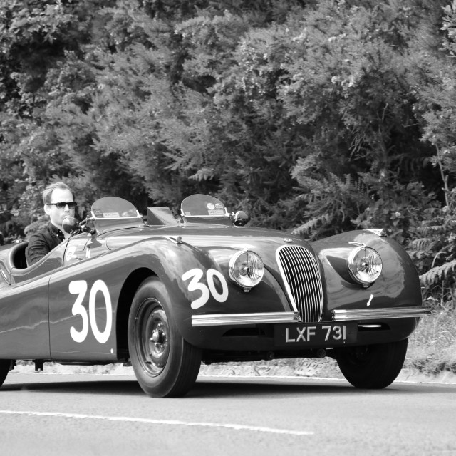 """Jaguar XK120 on the Hope Classic Rally"" stock image"