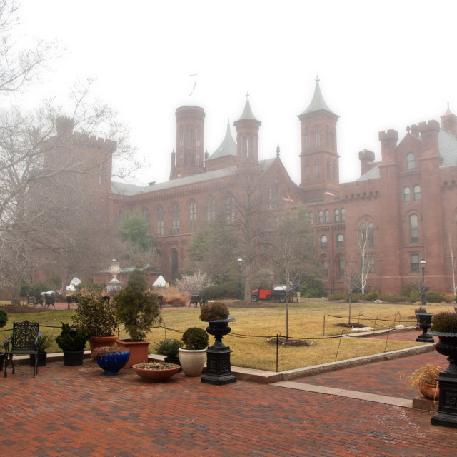 """Smithsonian Institution in fog"" stock image"