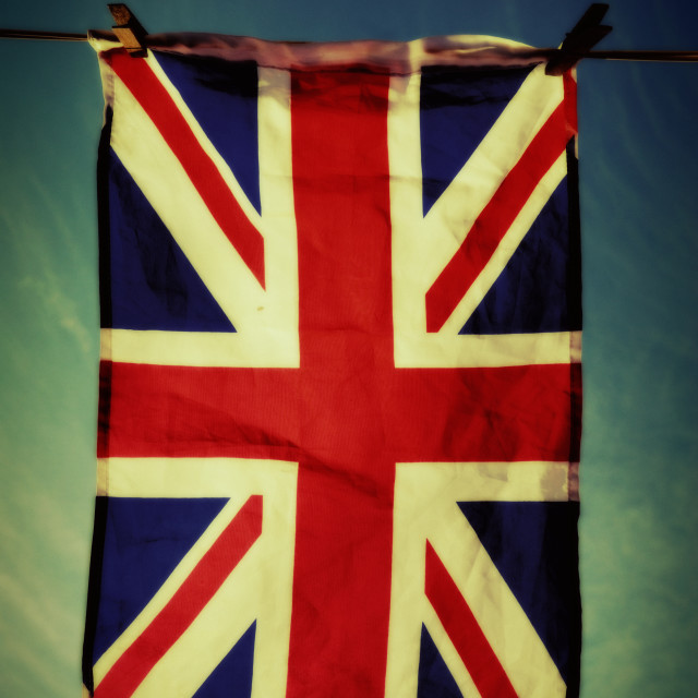 """Union Jack Flag, Pegged to a Washing Line"" stock image"
