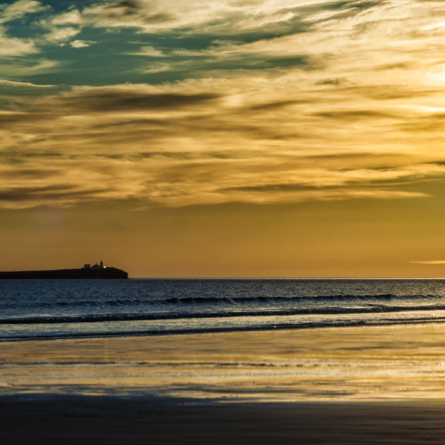 """Inner Farne from Bamburgh Beach."" stock image"