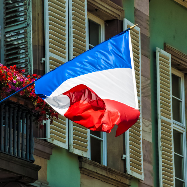 """French Tri-colour in Alsace."" stock image"