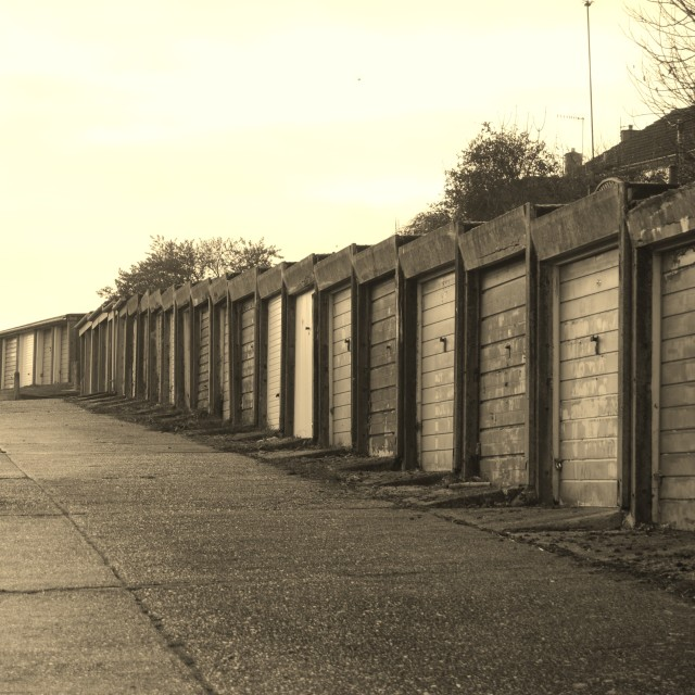 """row of sepia garages"" stock image"