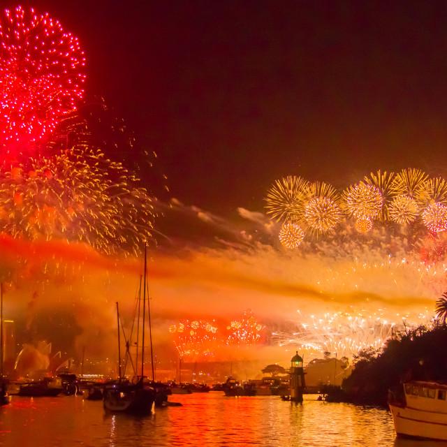 """Fireworks Sydney Harbour"" stock image"
