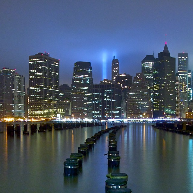 """Manhattan Tribute in Light."" stock image"