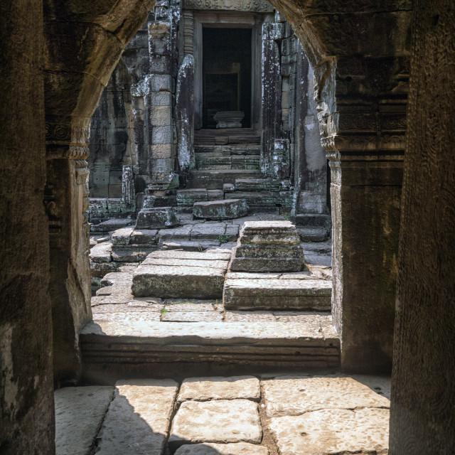 """Exterior Stone Archway, Bayon Temple Ruins, Angkor"" stock image"