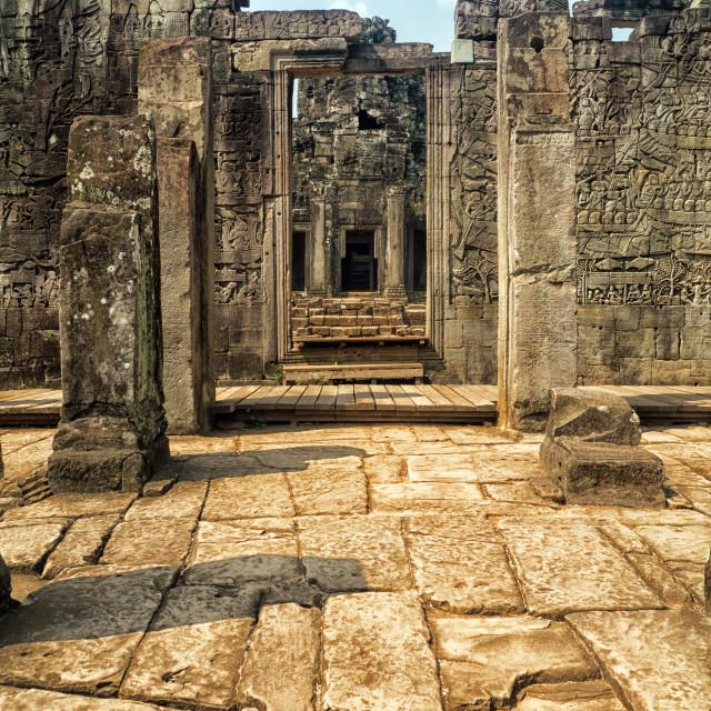 """""""Exterior Stone Doorway, Bayon Temple Ruins, Angkor"""" stock image"""
