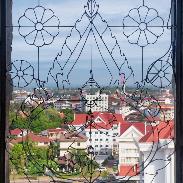 """Cityscape, Decorated Buddhist Window, Vientiane"" stock image"