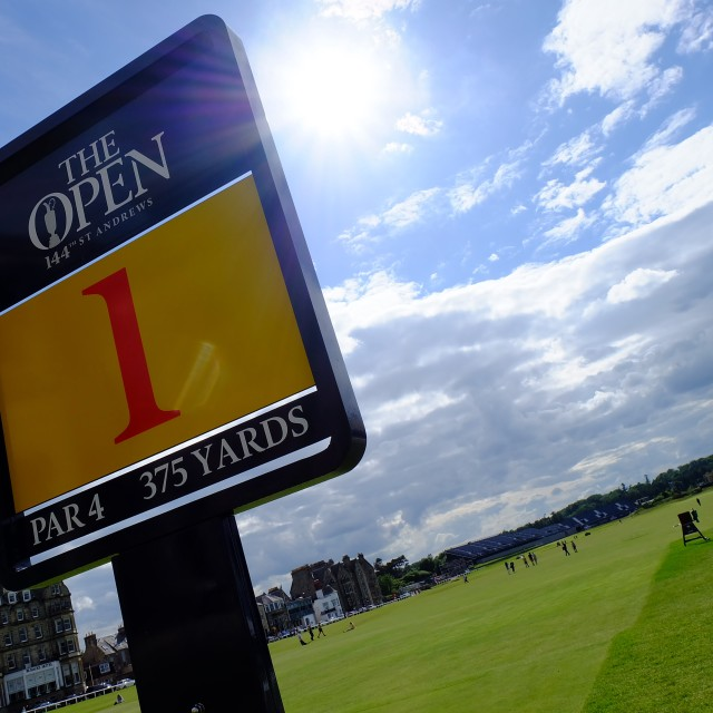 """""""The Open St Andrew's, 1st fairway, July 2015"""" stock image"""