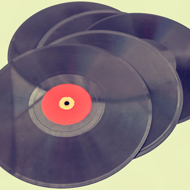 """Vintage records"" stock image"