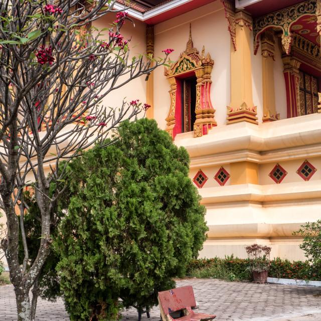 """Courtyard, Wat Thatluang Beua Buddhist Temple"" stock image"