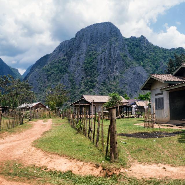 """Rural Village Houses near Vang Vieng, Laos"" stock image"