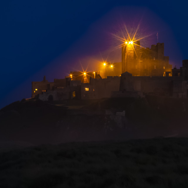 """""""Bamburgh Castle by Night."""" stock image"""