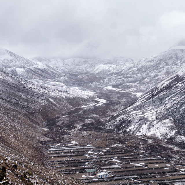 """Snowy Dingboche Valley in the Himalayan Mountains"" stock image"