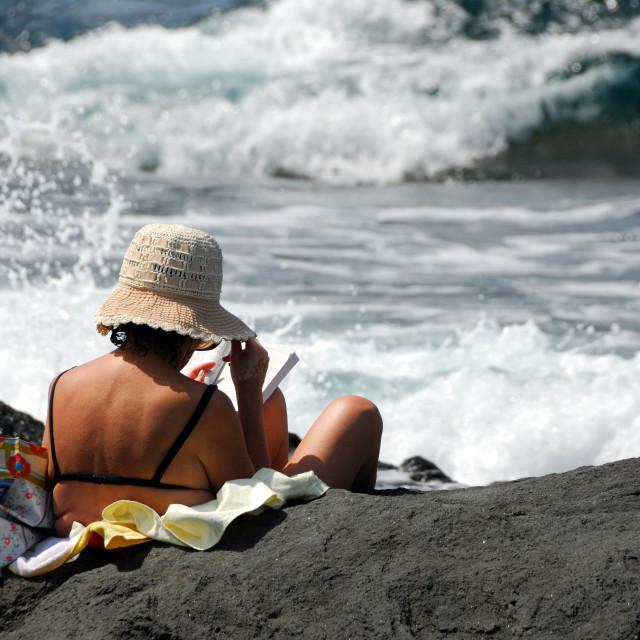 """Woman at the sea"" stock image"