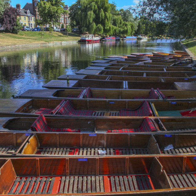 """Punters on the Cam in Cambridge"" stock image"