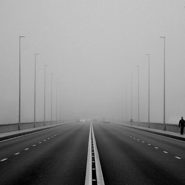 """""""Foggy day in Badajoz, Spain"""" stock image"""