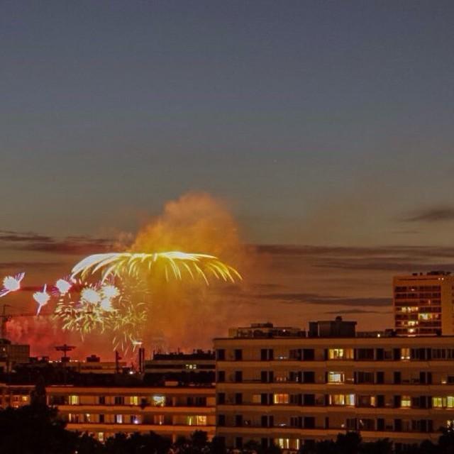 """Eiffel Tower Bastille Day Fireworks"" stock image"