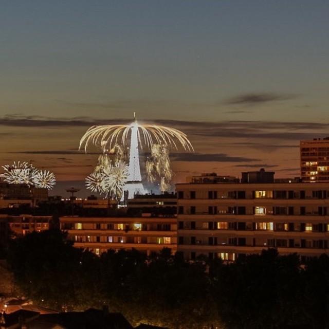 """Eiffel Tower Firework Display Bastille Day 2015"" stock image"