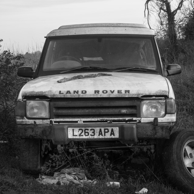 """""""Wrecked Land Rover"""" stock image"""