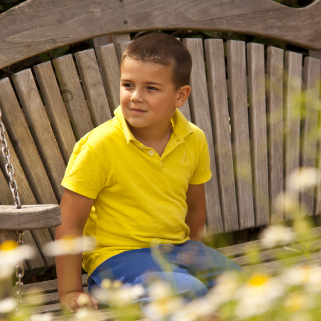 """""""Boy in Yellow"""" stock image"""